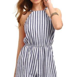 Striped Sleeveless Halter Short Romper
